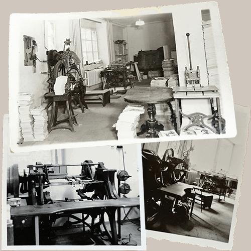 Buchbinderei Werkstätte im Jahr 1945